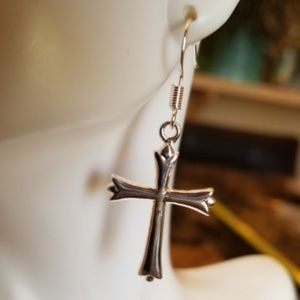 """Jewelry - Sterling Silver Filled Cross Earrings 1.5"""""""